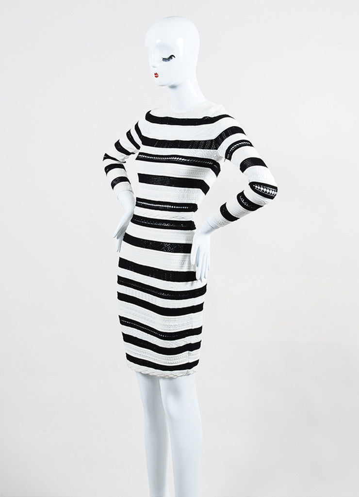 Black and White Alexander McQueen Striped Sweater Dress Side