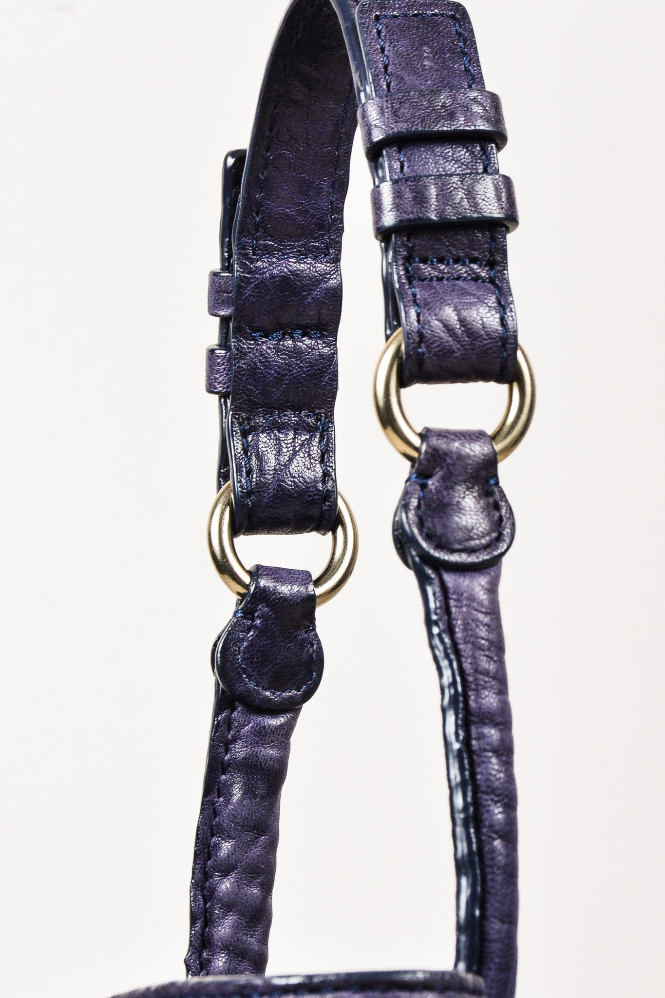 "Alexander Wang Dark Purple Pebbled Leather Brass Stud ""Diego"" Bucket Bag Detail 3"