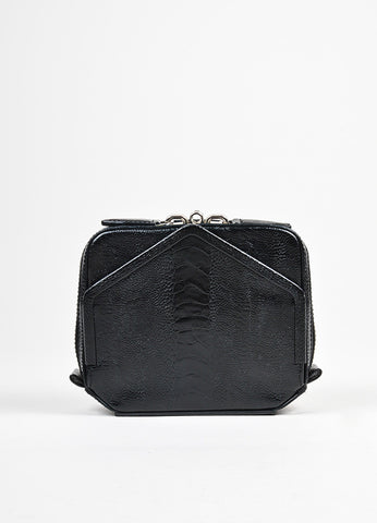 "Alexander Wang Black Leather Ostrich Embossed Zip Around ""Adriel"" Clutch Bag Frontview"