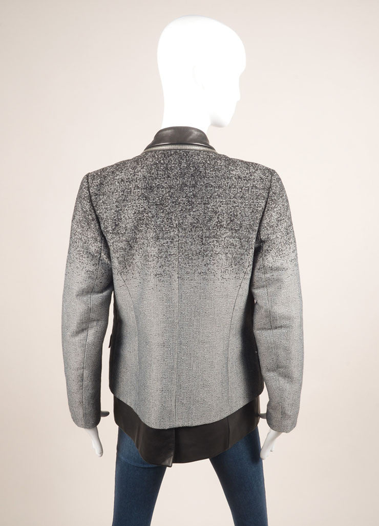 Alexander Wang Grey and Black Cotton and Leather Ombre Blazer Jacket Backview