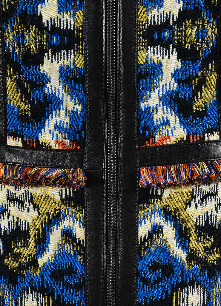 Multicolor Andrew Gn Wool and Leather Trim Fringe Zip Dress Detail
