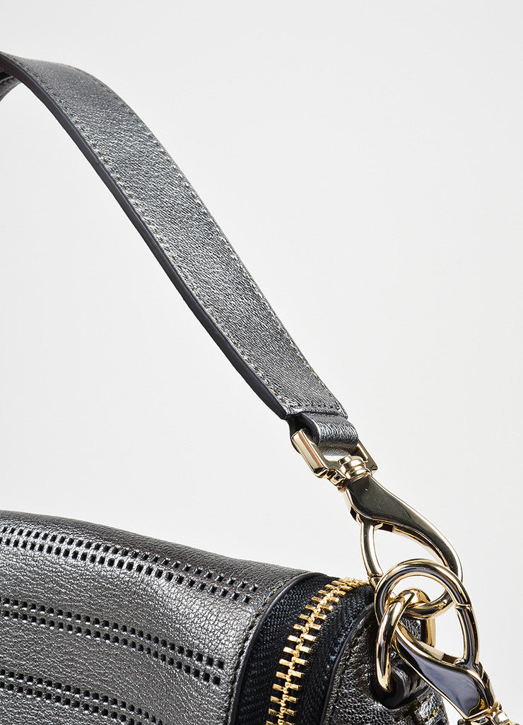 "Gunmetal Leather Perforated Zip Anya Hindmarch ""Capra"" Satchel Bag Detail 2"