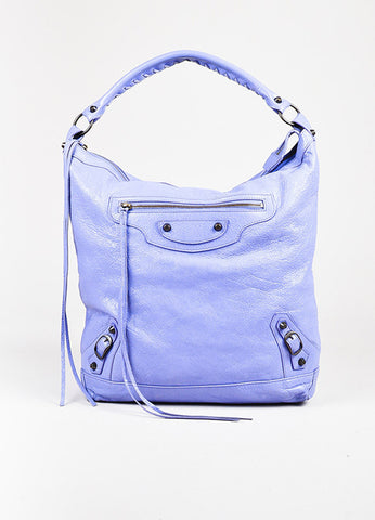 "Balenciaga Lavender Lambskin Leather Classic Hardware ""Day"" Bag Front"