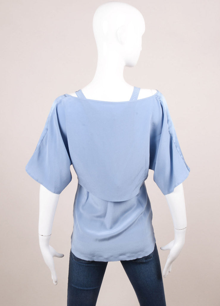 Barbara Bui New With Tags Blue Silk Layered Top Backview