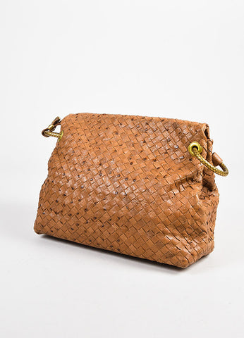 Bottega Veneta Tan Ostrich Leather Intrecciato Woven Flap Shoulder Bag Back