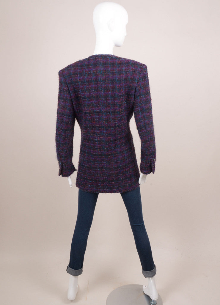 Chanel Purple and Green Wool Blend Tweed Long Jacket Backview