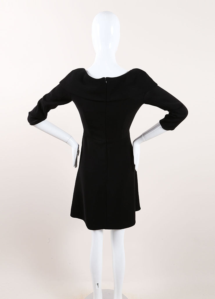 Carven Black Cuffed Off Shoulder Quarter Sleeve Dress Backview