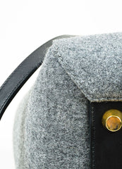 "Black and Grey Wool and Felt Top Handle Celine ""Belt"" Flap Bag Detail"
