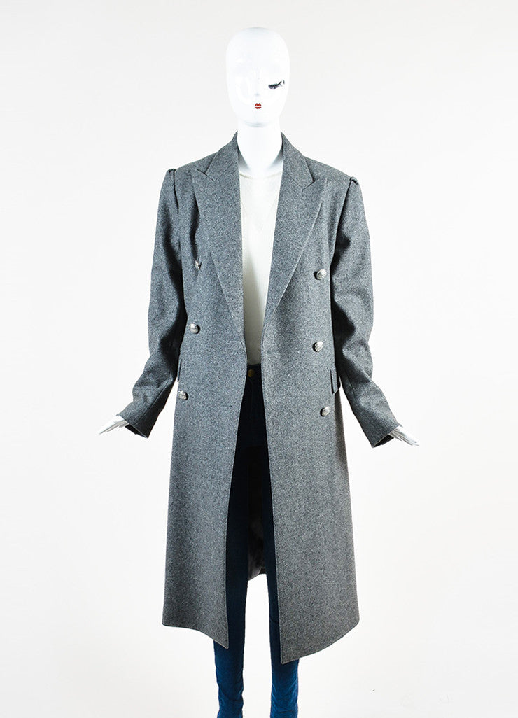 Celine Grey Wool and Cashmere Jewel Cluster Button Double Breasted Coat Frontview