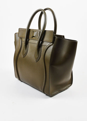 "Celine Olive Green Leather ""Mini Luggage Tote"" Bag Sideview"