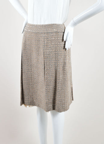 Chanel Beige and Grey Tweed Panel Pleated A-Line Skirt Front