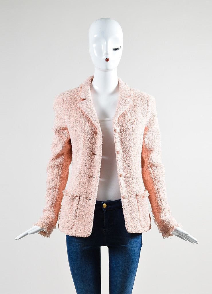 Pink Chanel Cotton and Wool Tweed 'CC' Button Fringe Trim Blazer Jacket Frontview