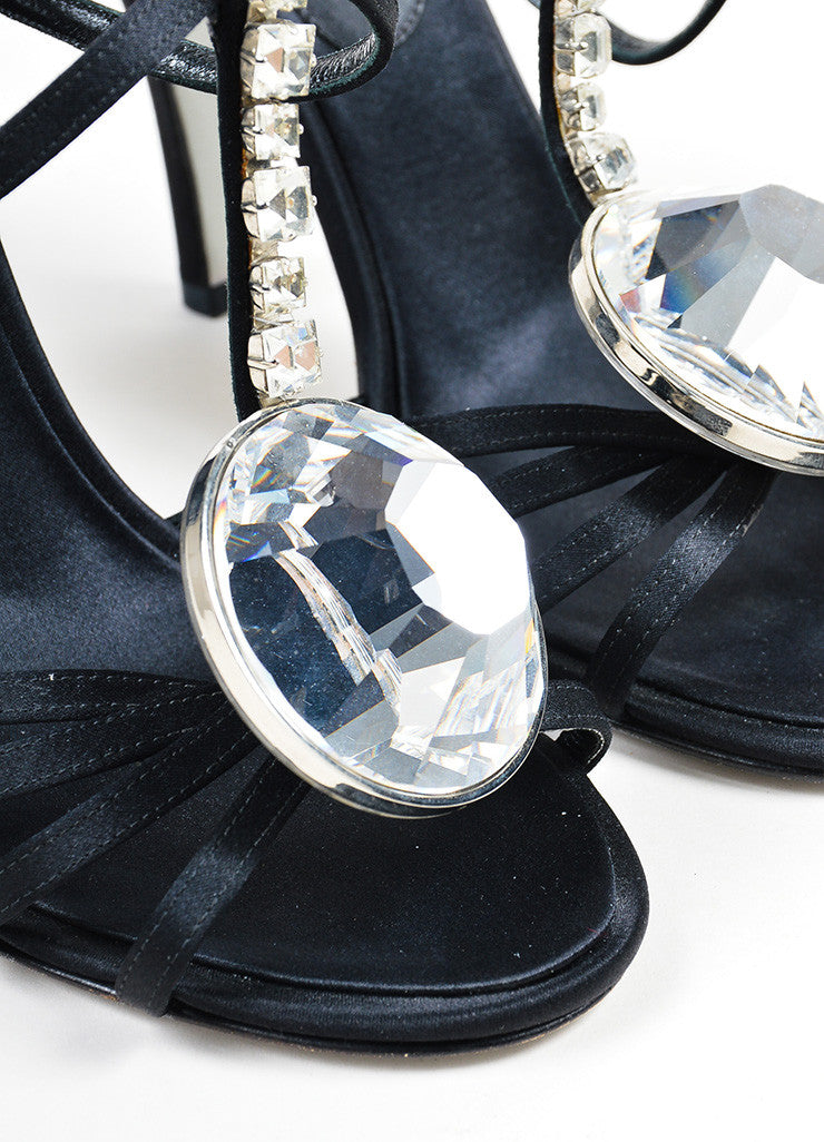 Black Satin Chanel Oversized Rhinestone Strappy Heel Sandals Detail