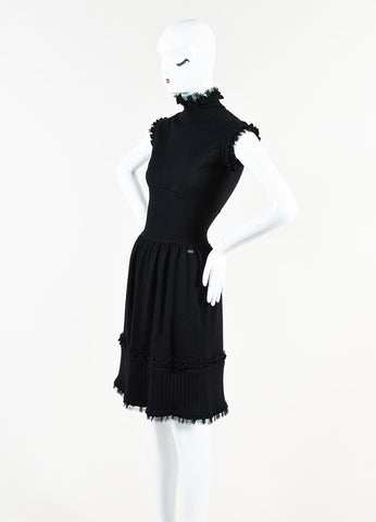 Chanel Black Cashmere Knit Turtleneck Sleeveless Dress Sideview
