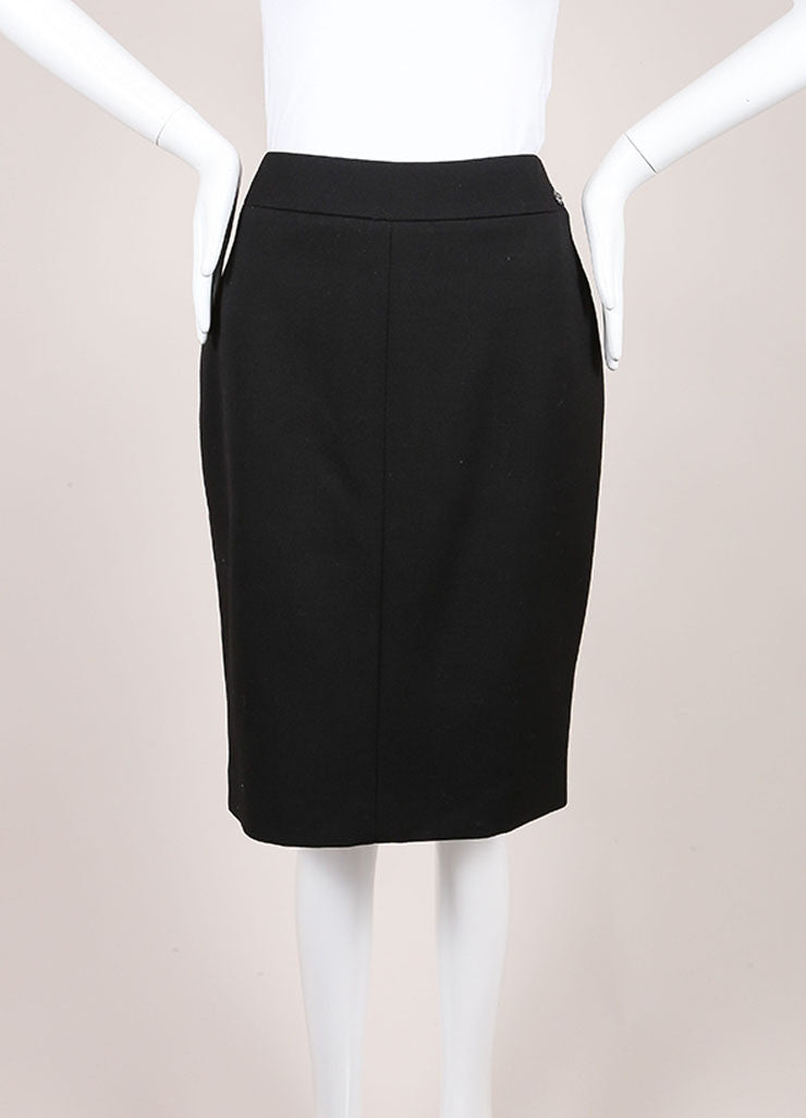 Chanel New With Tags Black Wool Pencil Skirt Frontview