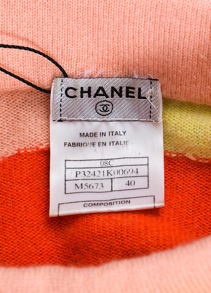 Chanel Blue, Pink, and Yellow Cashmere Colorblock Airplane Pin Sweater Brand