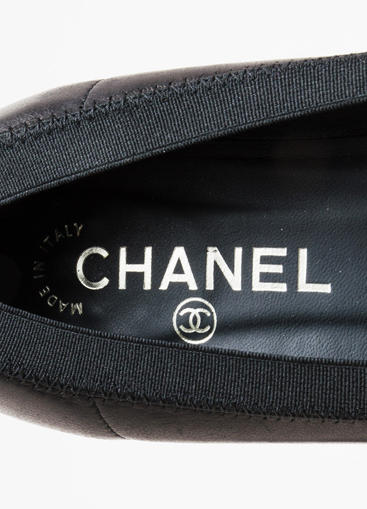 "Chanel Black Leather Ruffle Trim ""CC"" Cap Toe  Ballerina Flats Brand"