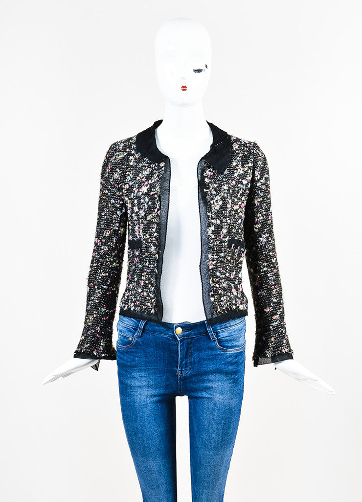 Chanel Black and Multicolor Wool Blend Tweed Silk Trim Blazer Jacket Frontview