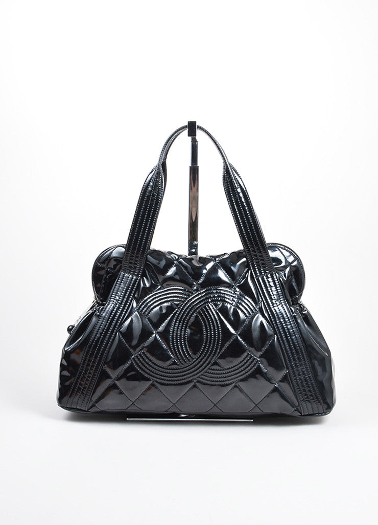 Black Chanel Patent Vinyl Quilted 'CC' Shopping Shoulder Tote Bag Frontview