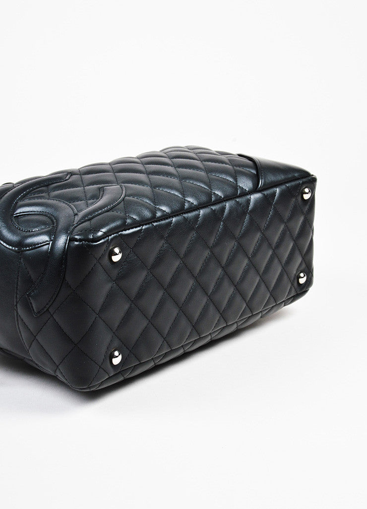 "Black Chanel Quilted Lambskin ""Ligne Cambon Bowler Bag"" Detail"