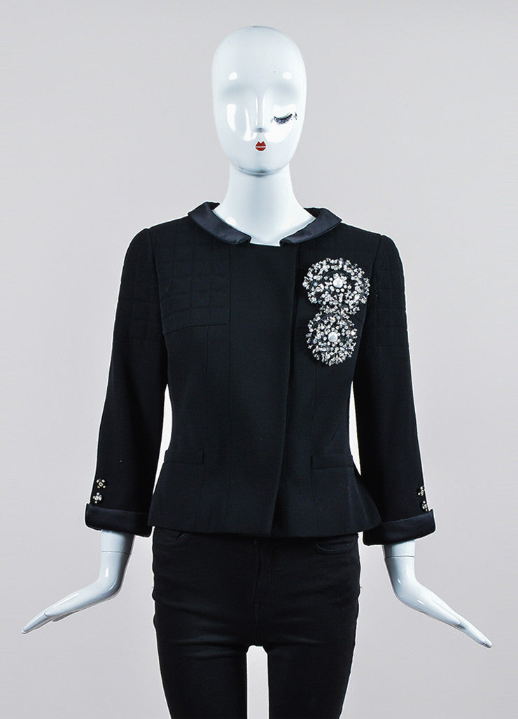 Black Chanel Wool and Silk Jacket and Skirt Suit Jacket