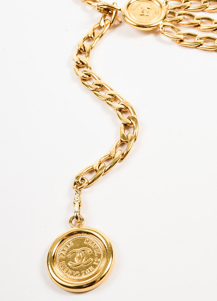 Chanel Gold Toned Triple Strand Chain Link 'CC' Coin Medallions Belt Detail 3