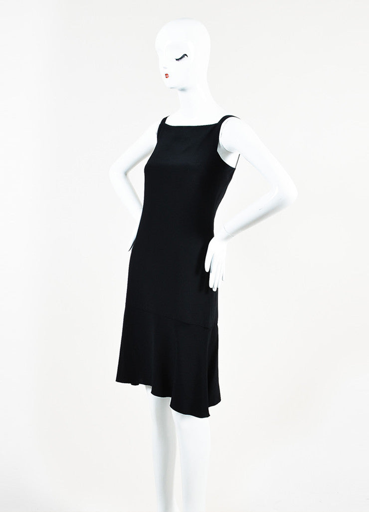 Chanel Black Silk 'CC' Detail Sleeveless Flounce Hem Slip Dress Sideview