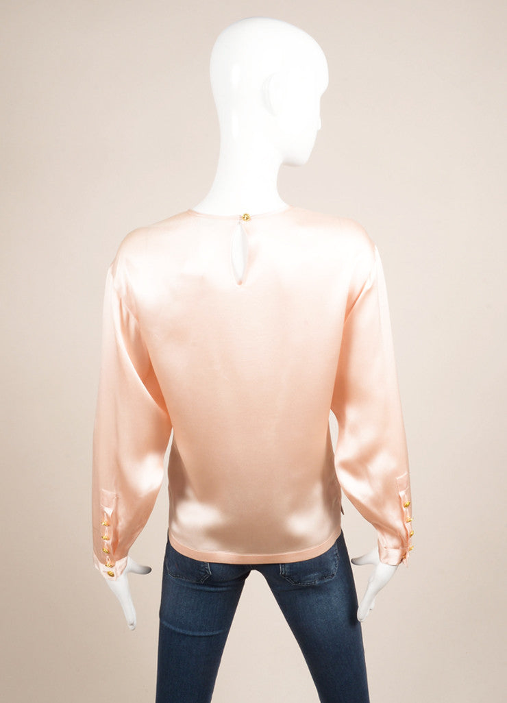 Chanel Pink and Gold Four Leaf Clover Embellished Silk Blouse Backview