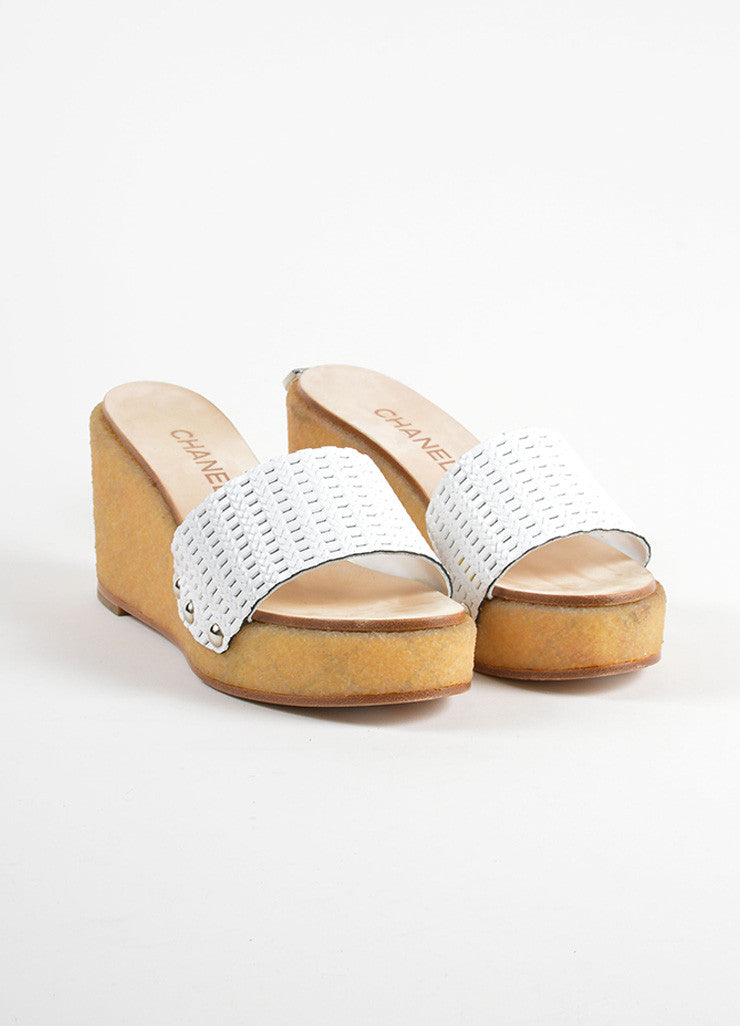 Chanel White Woven Leather Gum Sole Wedge Platform Mule Sandals Frontview