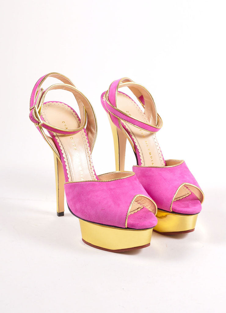 "Charlotte Olympia Fuchsia and Gold Suede ""Irina"" Peep Toe Platform Pumps Frontview"