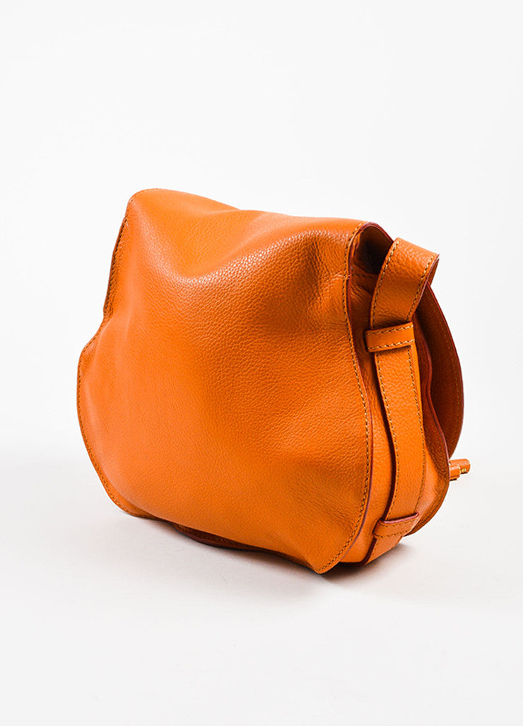 "Orange Chloe Grained Leather Saddle Crossbody ""Marcie"" Bag Back"