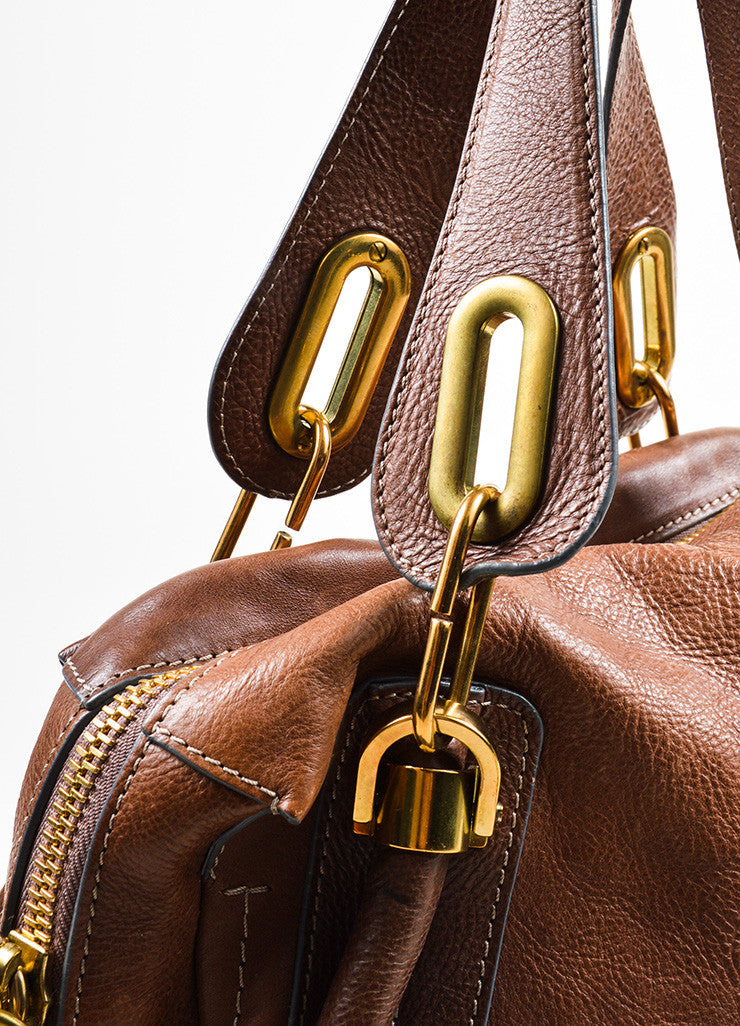 "Chloe Brown Gold Toned Leather ""Paraty"" Hobo Bag Detail 2"