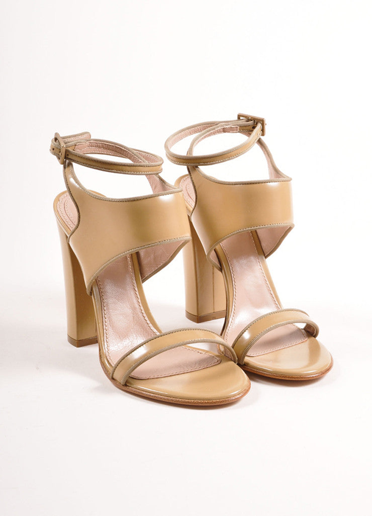 Chloe Taupe Patent Leather Chunky Heel Sandals Frontview