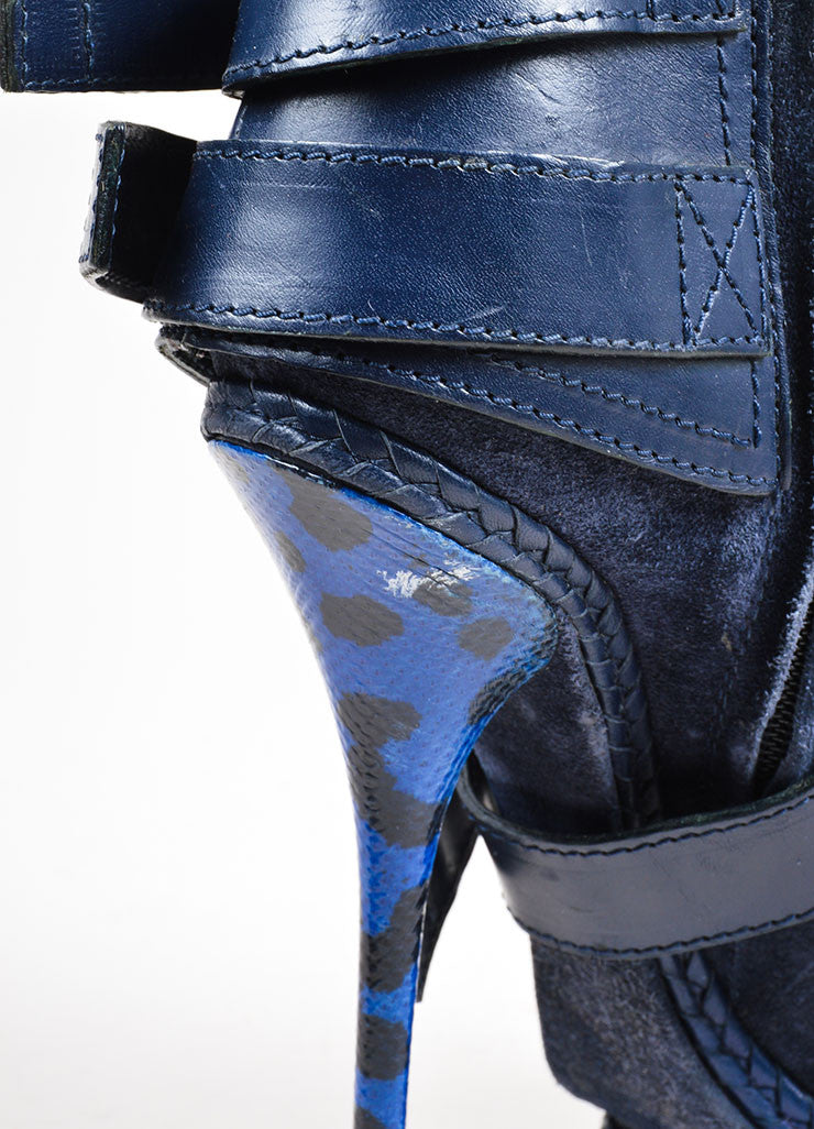 Blue Christian Dior Suede and Snakeskin Embossed Leather Stiletto Moto Boots Detail