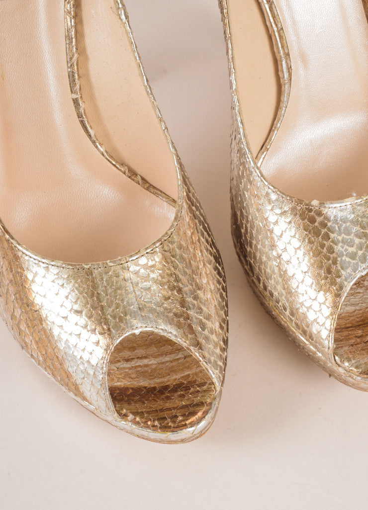 Christian Dior Silver and Gold Metallic Snakeskin Peep Toe Pumps Detail