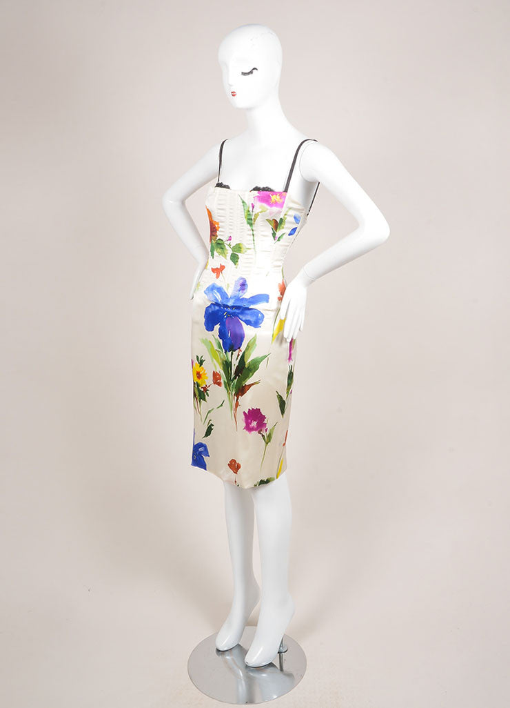Dolce & Gabbana Cream and Multicolor Floral Print Bustier Dress Sideview