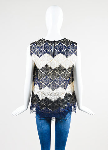 Cream, Navy, and Black Erdem Mesh Crochet Lace Sleeveless Top Backview