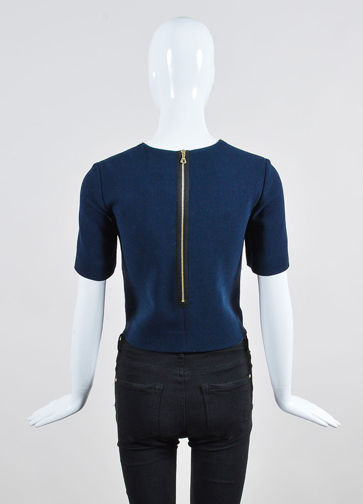 "Navy Erdem Wool and Leather Jewel Embellished ""Juana"" Short Sleeve Crop Top Backview"
