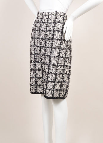 Escada Black and White Wool Tweed Check Pencil Skirt  Sideview