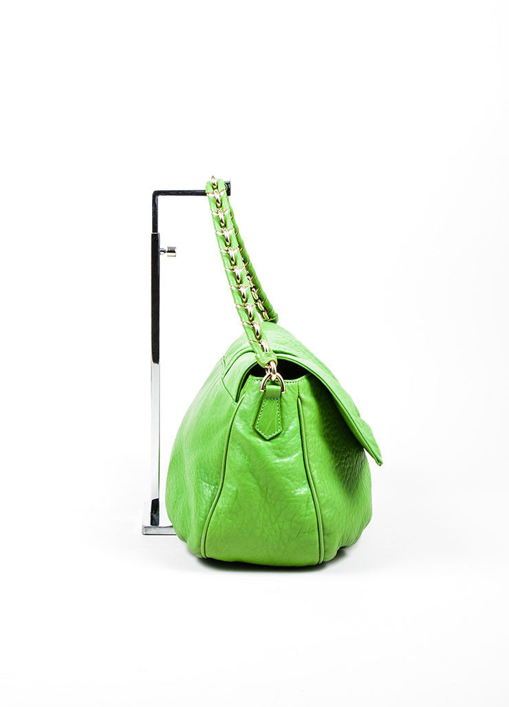 "Kelly Green Fendi Pebbled Leather Chain Strap ""Mia Agnello"" Flap Bag Sideview"