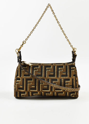 "Fendi Brown and Gold Metallic Canvas ""Mini Zucca Chain Crossbody"" Bag Frontview"