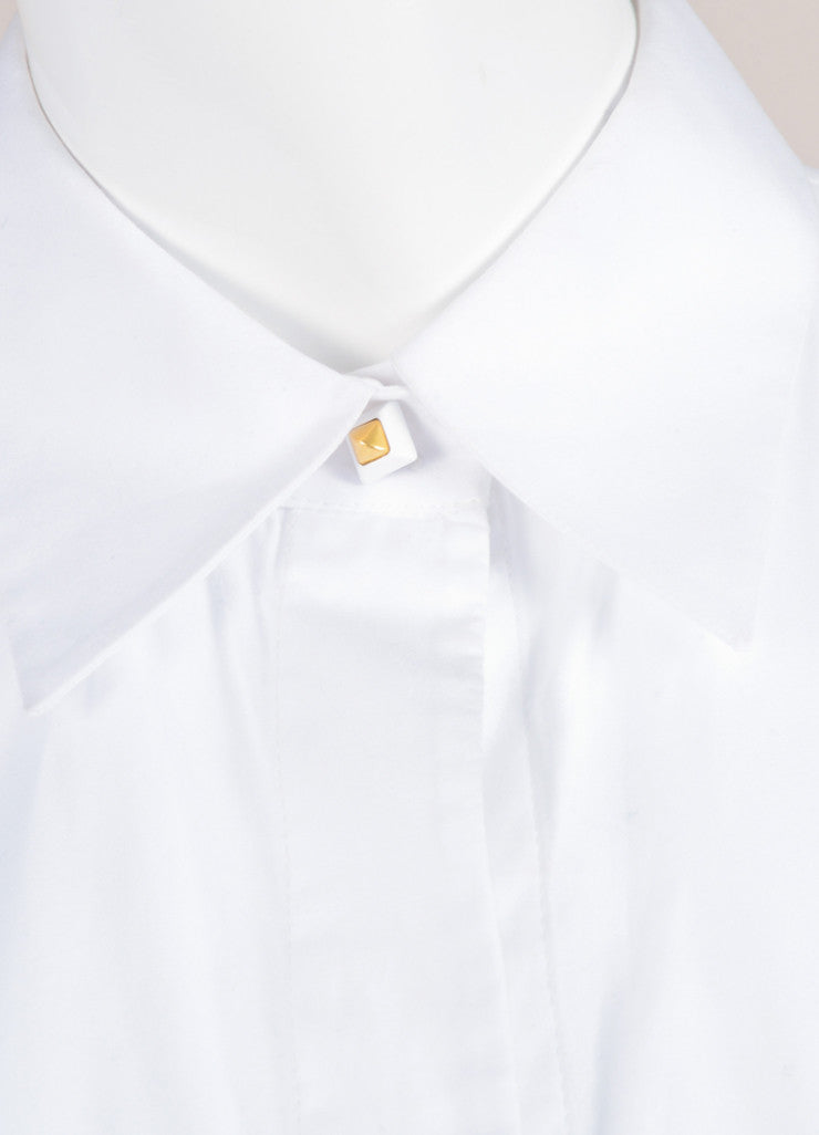 Givenchy White Seamed Bodice Flared Short Sleeve Cotton Blouse Detail