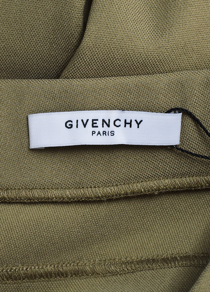 Khaki Beige Givenchy Cotton Nylon Blend Stretch Zip Skinny Moto Leggings Brand