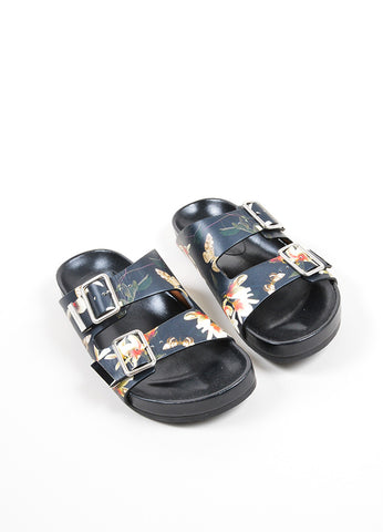 Multicolor Givenchy Flower and Moth Print Buckle Flat Slide Sandals Frontview