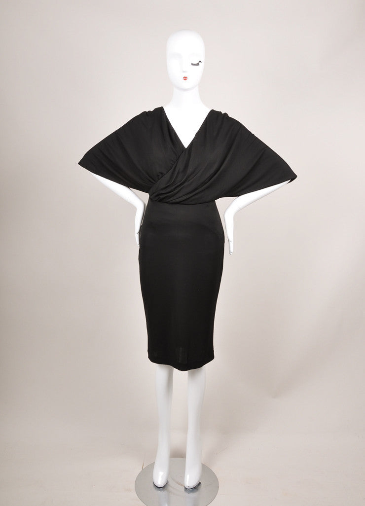 Givenchy New With Tags Black Cross Drape Mid-Sleeve Jersey Dress Frontview