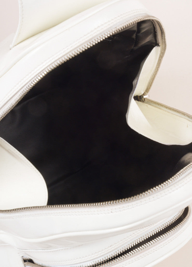 Gucci White Leather Slingback Bamboo Backpack Interior