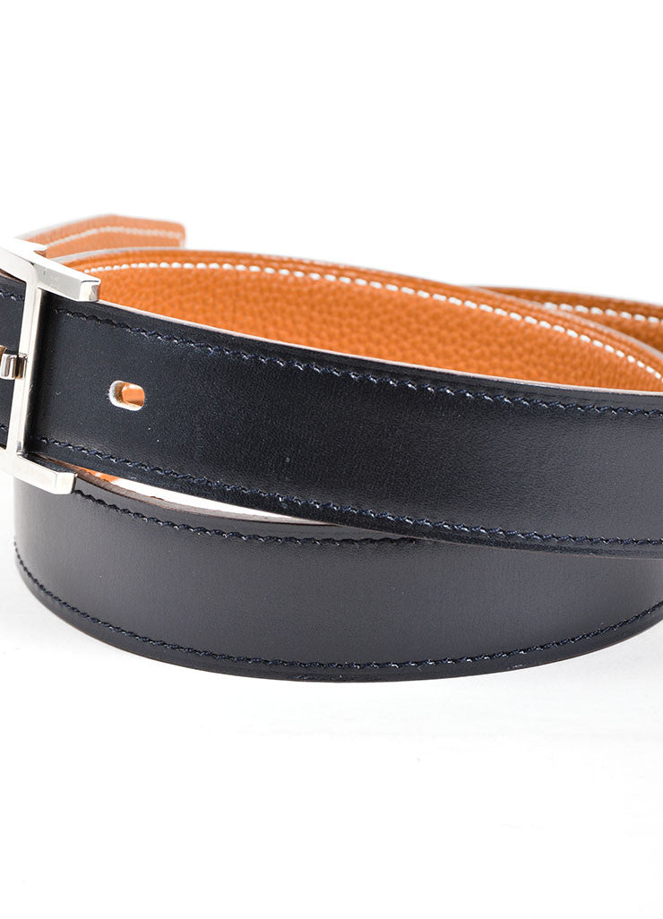 "Black and Silver Toned Leather Hermes ""Hapi"" Belt Detail 2"