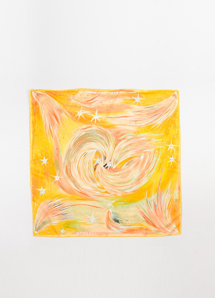 "Yellow and Muticolor Hermes Silk Celestial Print ""Feux Du Ciel"" Scarf Frontview 2"