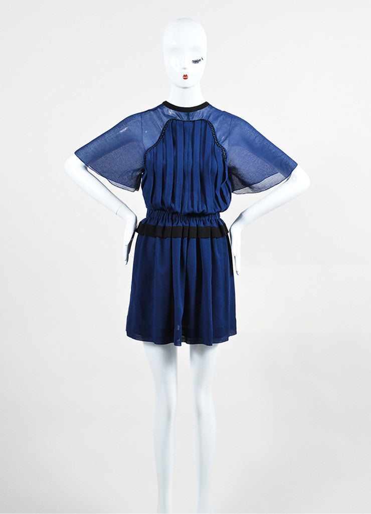"Navy and Black Isabel Marant Crepe Pleated Keyhole ""Retra"" Mini Dress Frontview"