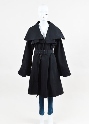 Jean Paul Gaultier Femme Black Wool Blend Belted Cape Coat Frontview